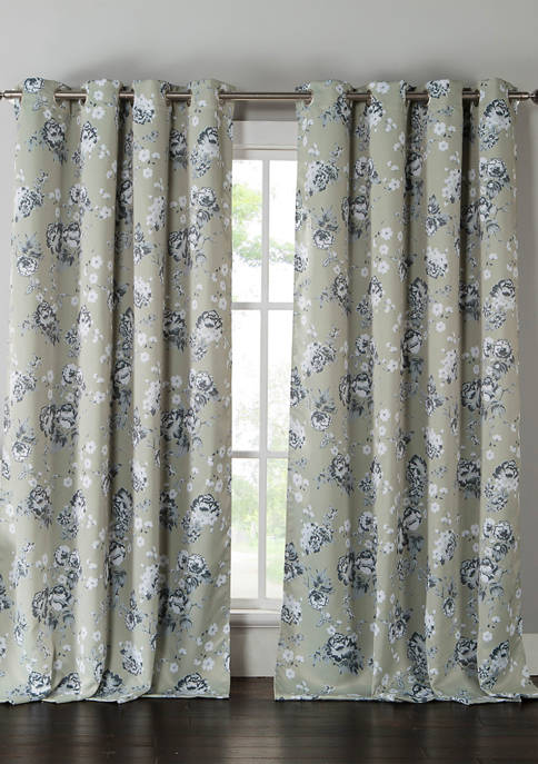 Kensie Set of 2 Nelliebee Print Blackout Curtains