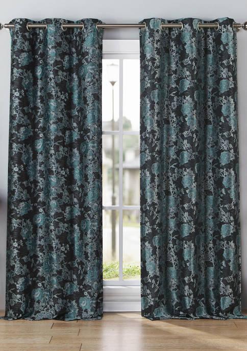 Kensie Set of 2 Nellie Print Window Curtains