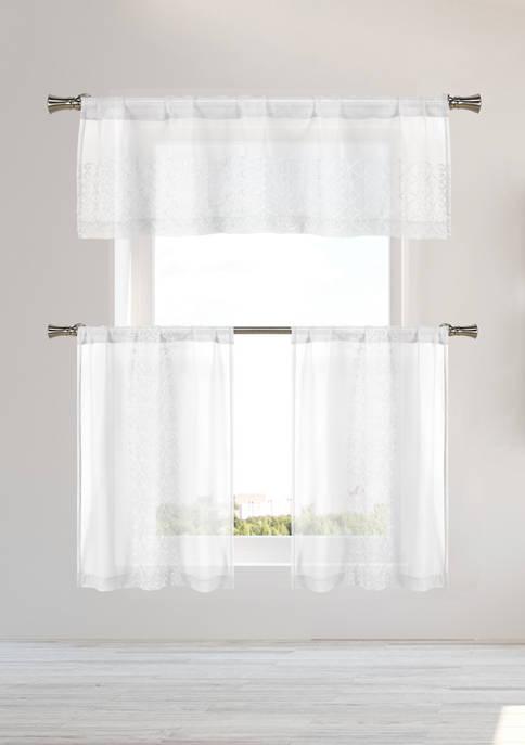 Home Maison 3 Piece Naomi Stripe Kitchen Curtain