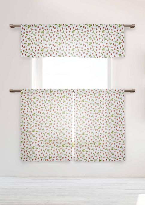 3 Piece Sheila Floral Cotton Kitchen Curtain and Tier Set