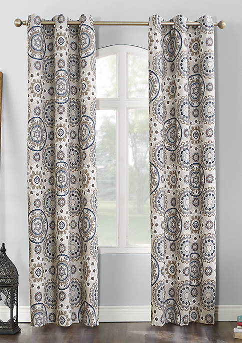 Nepal Global Print Blackout Grommet Curtain Panel