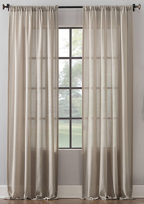 Leno Weave Stripe Curtain Panel
