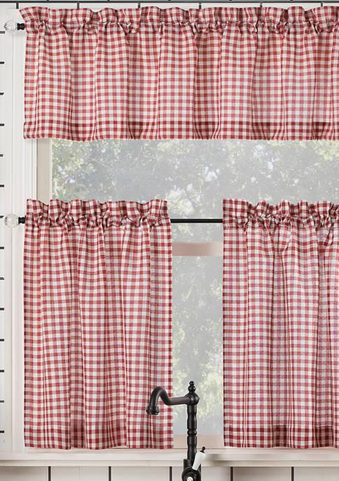 Parkham Farmhouse Plaid Semi-Sheer Rod Pocket Kitchen Curtain Valance and Tiers Set