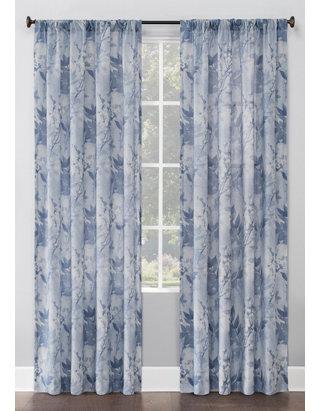 No 918 Hilary Watercolor Floral Linen Blend Semi Sheer Rod Pocket Window Curtains Belk