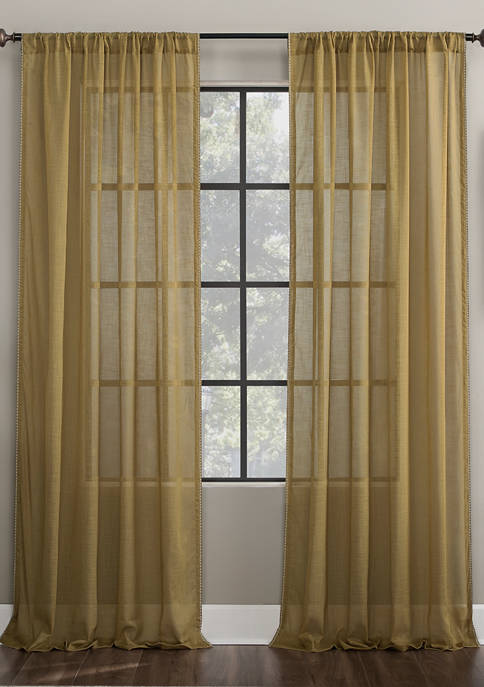 Embroidered Border Cotton Blend Sheer Window Curtain