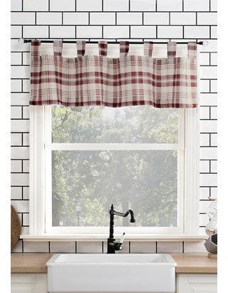 Blair Farmhouse Plaid Semi-Sheer Tab Top Window Curtains