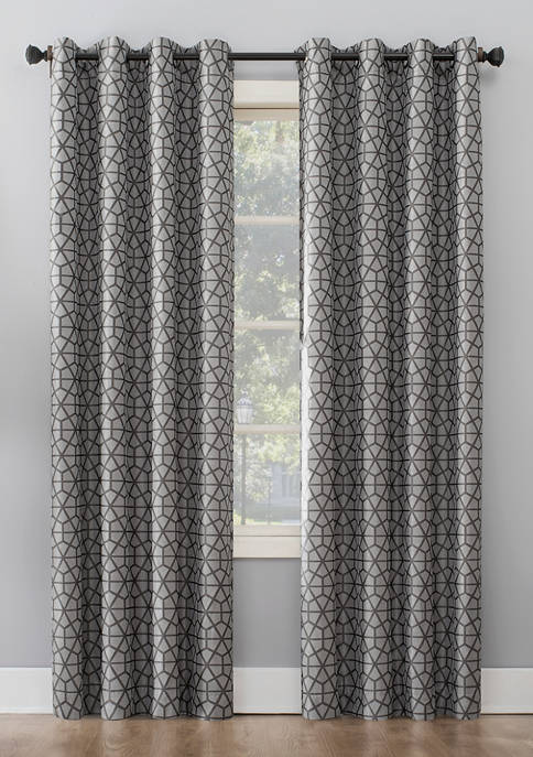 Burke Twill Mosaic Thermal Extreme Blackout Grommet Curtain Panel