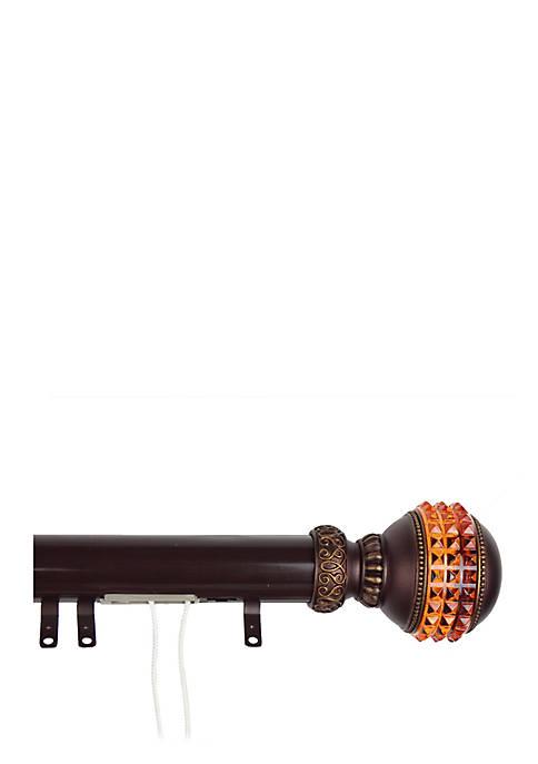 Decorative Traverse Rod w Sliders Gemstone Finial