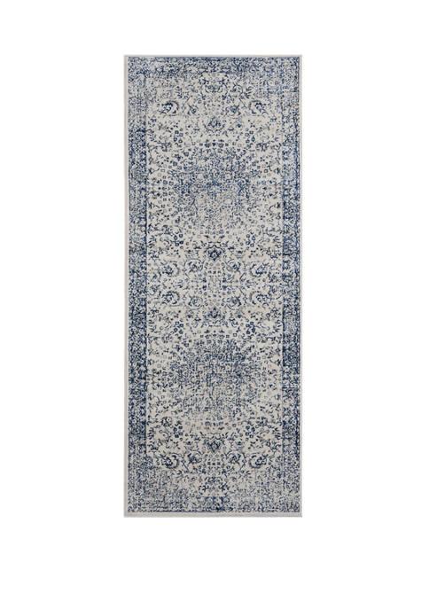 2 ft 7 in x 7 ft 2 in Clairmont Larnaca Denim Blue Runner Rug