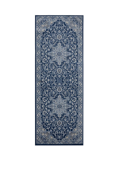 2 ft 7 in x 7 ft 2 in Clairmont Bari Denim Blue Runner Rug