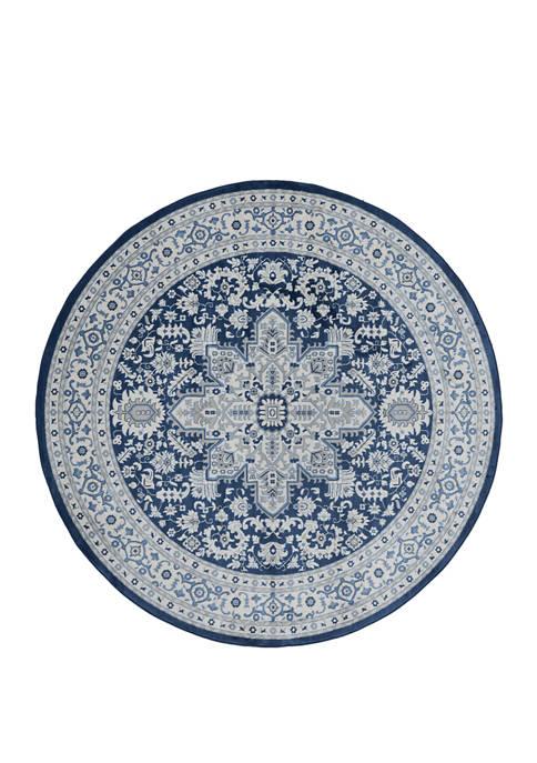 7 ft 10 in x 7 ft 10 in Clairmont Bari Denim Blue Round Rug