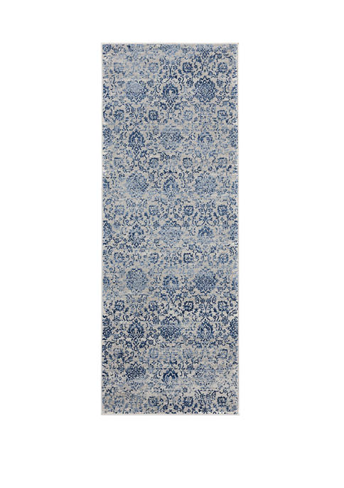 2 ft 7 in x 7 ft 2 in Clairmont Arish Denim Blue Runner Rug