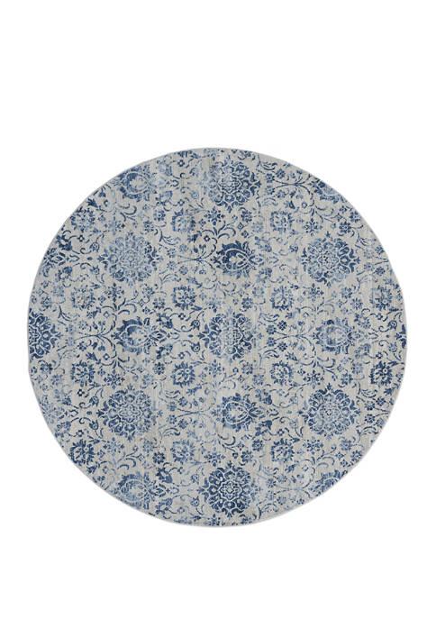 7 ft 10 in x 7 ft 10 in Clairmont Arish Denim Blue Round Rug