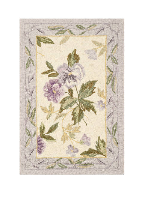 Chelsea Ivory Hand Hooked Ivory Floral  Area Rug Collection
