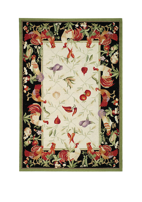 Chelsea Roosters with Vegetables  Area Rug Collection