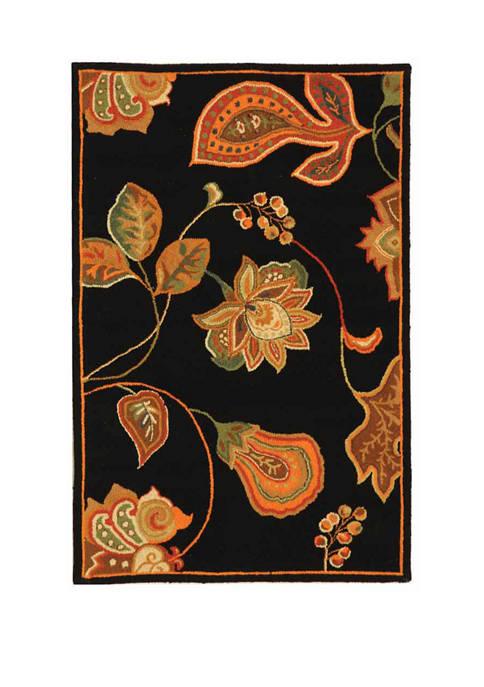 Chelsea Black/Orange Floral Area Rug Collection