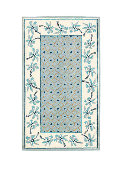 Chelsea Blue Palm Tree Area Rug Collection