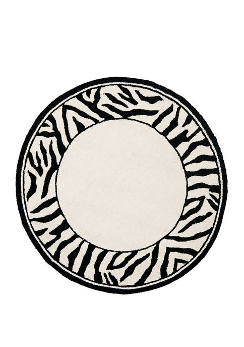 2 ft 6 in x 12 ft Chelsea White/Black Zebra Border Area Rug Collection