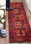 Vintage Hamadan Antiqued Oriental Red and Multi Area Rug Collection