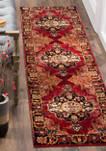 Vintage Hamadan Red Multi Area Rug