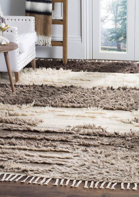 Safavieh Kenya Ivory/Grey Wool with Tassels Area Rug