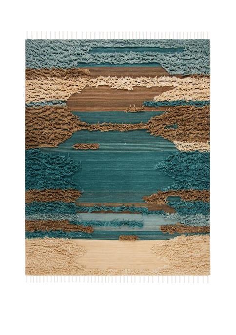 Kenya Blue/Beige 6 ft x 9 ft Area Rug