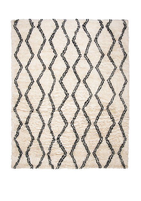 Kenya Black/Ivory 6 ft x 9 ft Area Rug