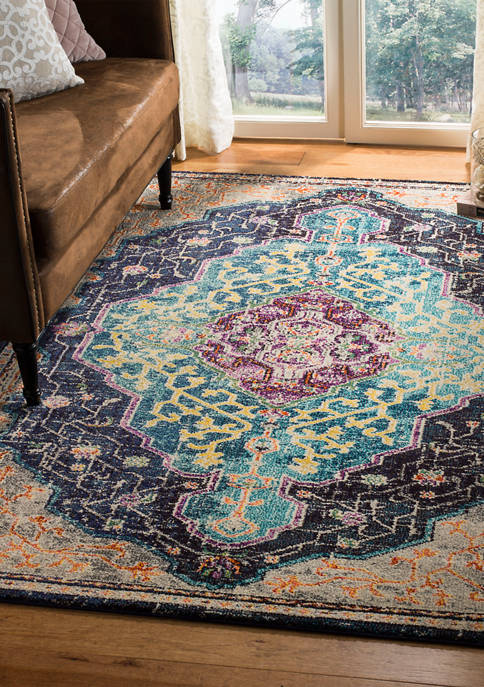 Monaco Floral Branch Loomed Boho Area Rug Collection
