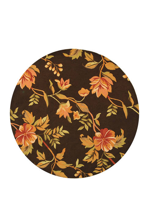 Chelsea Brown Multi Floral Round Area Rug Collection