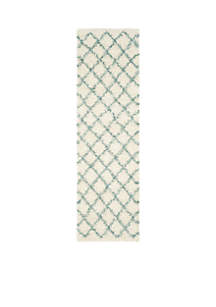 Dallas Shag Ivory/Seafoam Area Rug 2-ft. 3-in. x 8-ft.