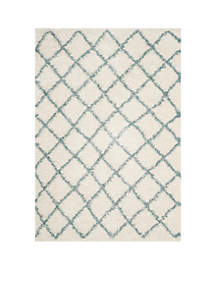 Dallas Shag Ivory/Seafoam Area Rug 5-ft. 1-in. x 7-ft. 6-in.