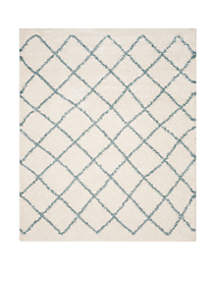 Dallas Shag Ivory/Seafoam Area Rug 8-ft. 6-in. x 12-ft.