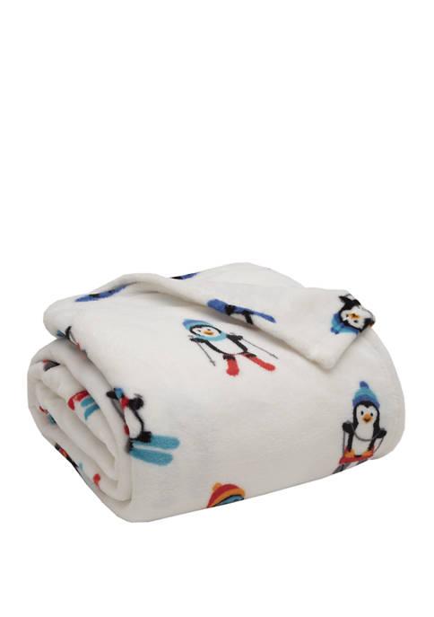Elite Home Products Alpine Penguin Plush Blanket