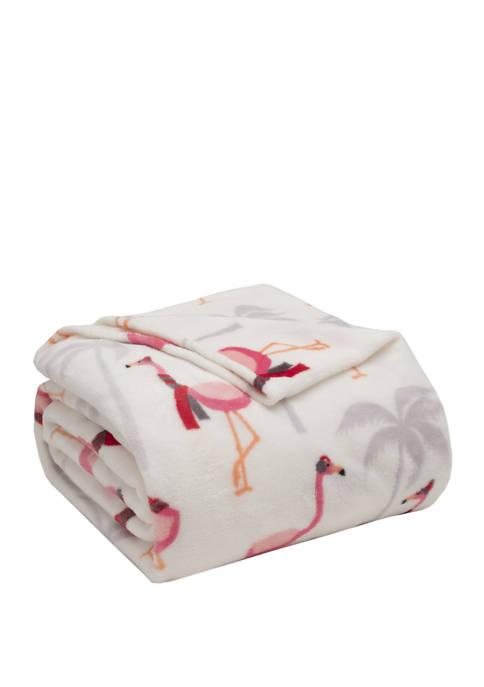 Elite Home Products Holiday Flamingo Plush Blanket