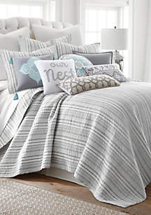 Vasari Stripe Gray Quilt Set