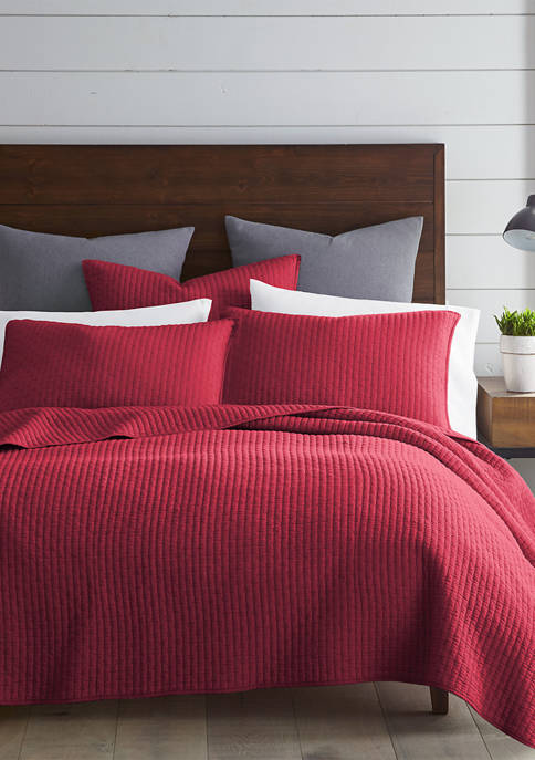 Levtex Home Cross Stitch Bright White Reversible Quilt