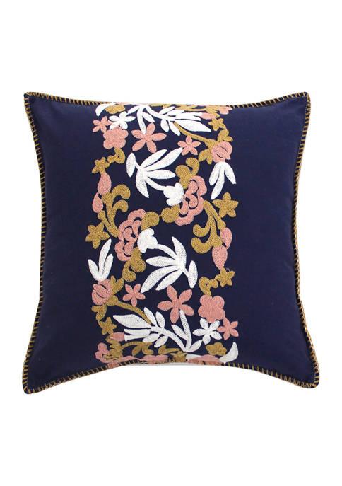 Arte Boema Madera Navy Crewel Pillow