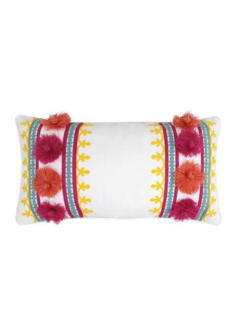 Levtex Leora Pom Embroidered Pillow