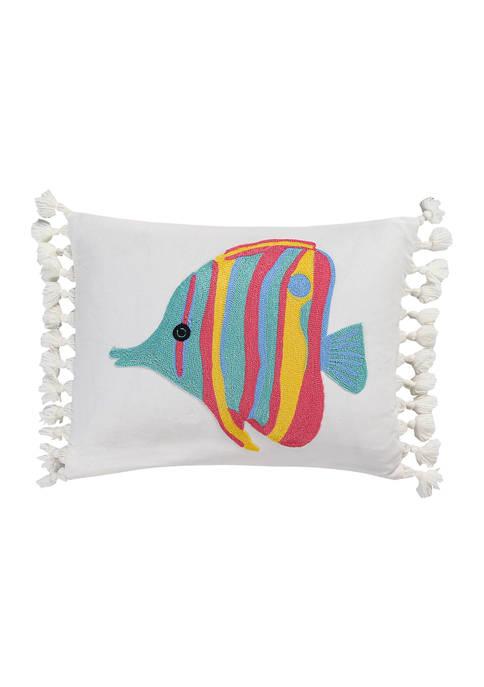 Levtex Playa Vista Crewel Fish Pillow