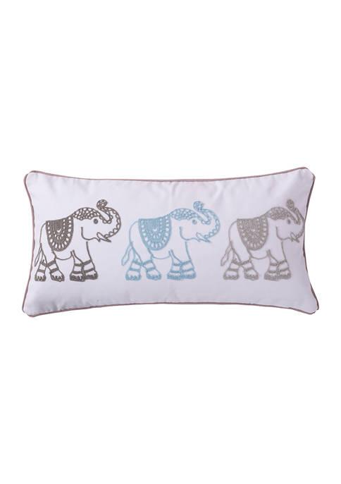 Levtex Grammercy Elephants Stitch Pillow