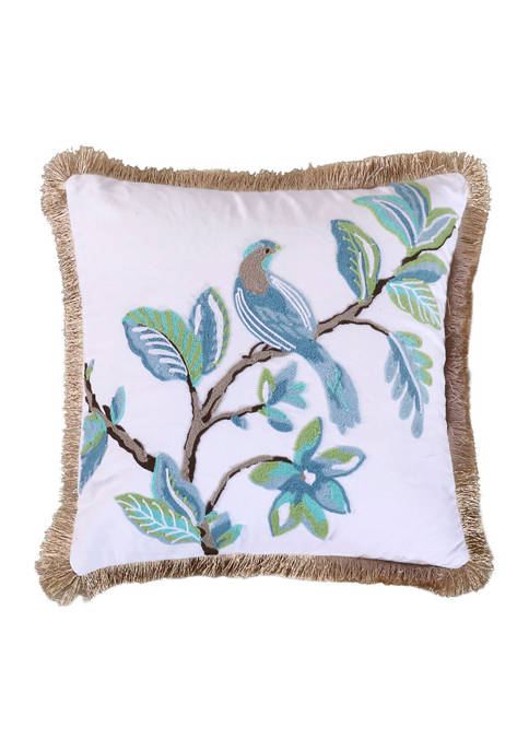Levtex Cressida Crewel Bird Fringe Pillow