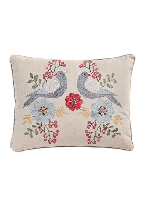 Levtex Home Angelina Linen Bird Embroidered Pillow