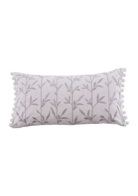 Levtex Home Pippa Embroidered Leaves Pom Pillow