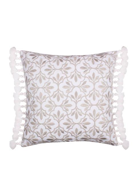 Levtex Loretta Embroidered Linen Tassel Pillow