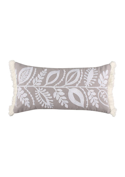 Melina Flower Embroidered with Fringe Pillow