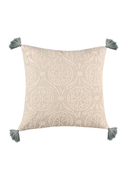 Levtex Brookwood Crewel Geo Tassel Pillow