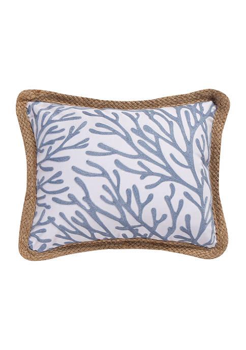 Levtex Crete Crewel Canvas Rope Trim Pillow
