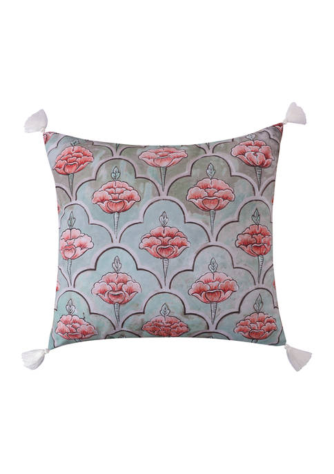 Spruce Coral Tassels Pillow