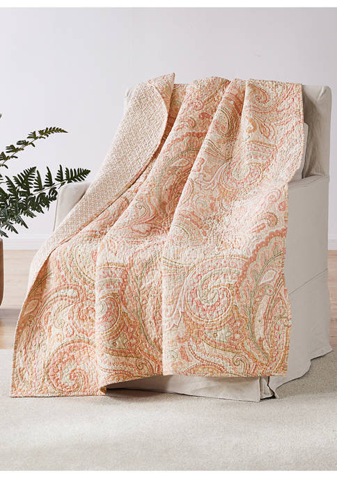 Spruce Coral Coral Quilted Throw
