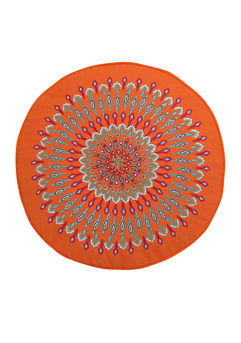 Azalea Orange Peacock Round Pillow